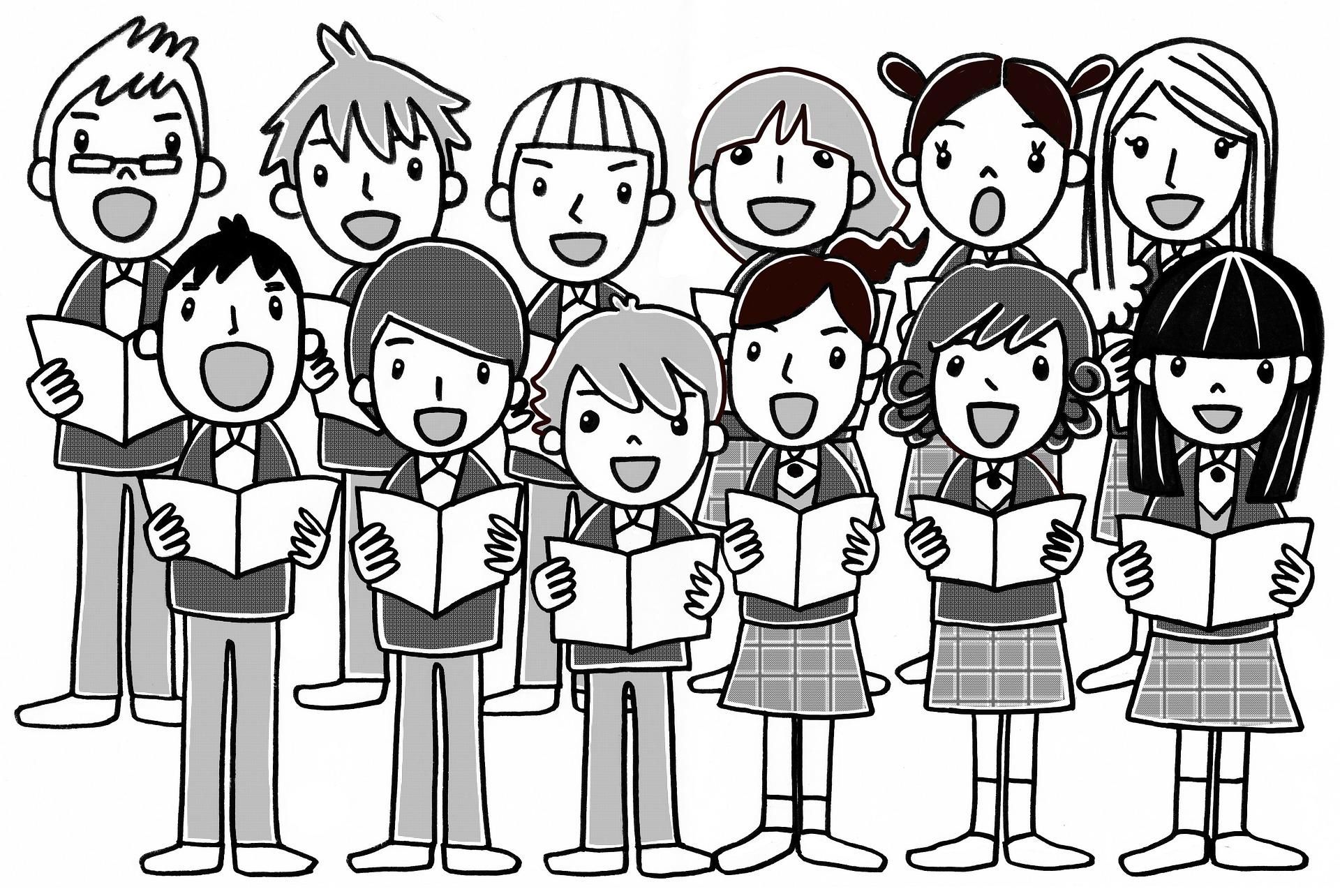 joonistatud pilt koorina laulvatest poistest ja tüdrukutest