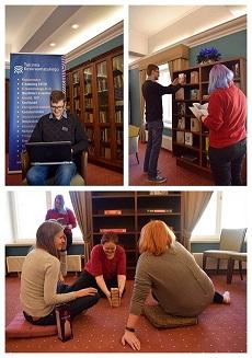 kollaaž: naised mängivad lauamängu; mees sülearvutiga; naine ja mees vaatavad vanu raamatuid