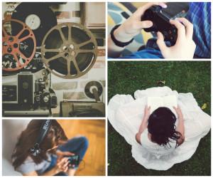kollaažpilt: raamatut lugev naine, klappidest muusikat kuulav noor neiu, videomängu konsool, retro videoprojektor filmilintidega