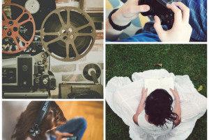 piltkollaaž kus naine loeb raamatut, noorel neiul on klapid peas, mängitakse videomängu, vanaaegne videoprojektor filmilintidega