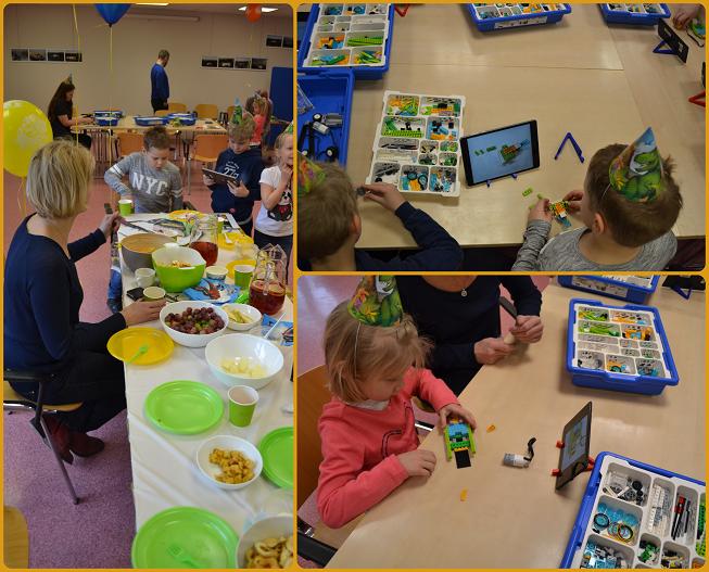 kollaaž: sünnipäevalised laua taga ja robotite ehitamine